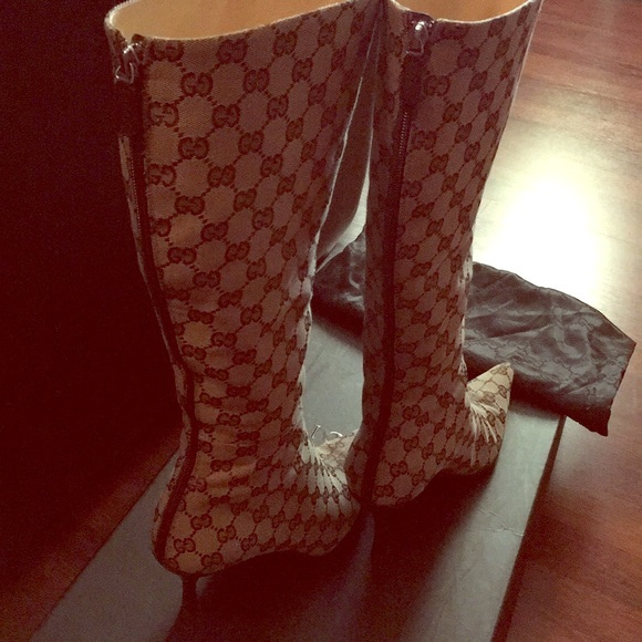 1b329276d Gucci Shoes | Signature Gg Canvas Tall Boot Pointed Toe | Poshmark